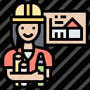 construction, design, engineer, repair, woman
