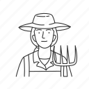 farm, farmer, female, female farmer, plants, profession, professionals icon