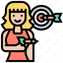 activity, aiming, darts, game, target icon