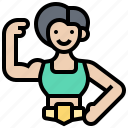 athlete, female, fighting, strength, wrestler icon
