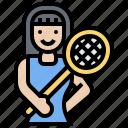 sports, woman, badminton, player, racket icon