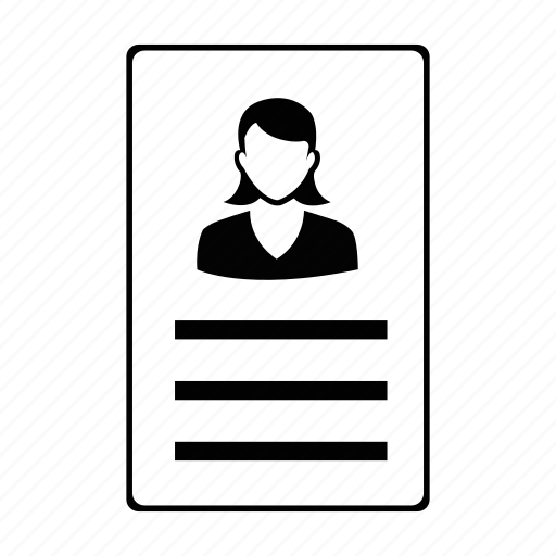 female, id card, labour, profile, user, women, worker icon