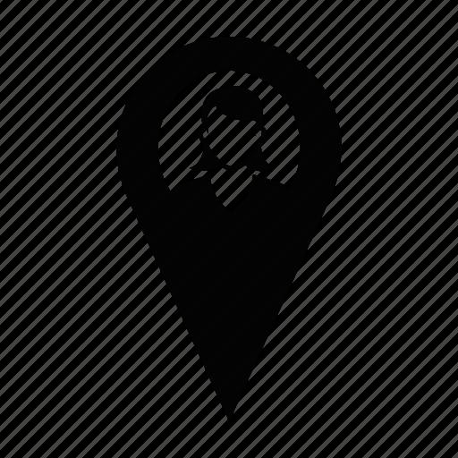 female, labour, location, profile, user, women, worker icon