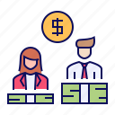 employee, gap, gender, pay, wage icon