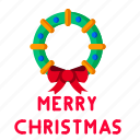 christmas, decoration, greeting, merry, ribbon, wreath icon
