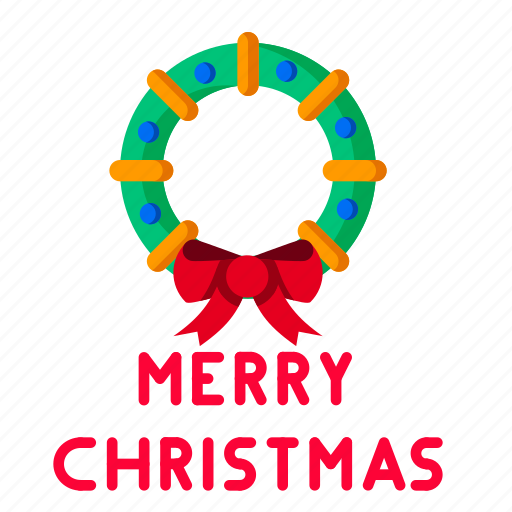 christmas, decoration, greeting, merry, ribbon, wreath icon