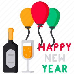 alchol, balloon, celebration, glass, wine icon