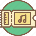concert, festival, music, ticket icon