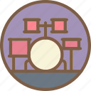 concert, drum, festival, kit, music icon