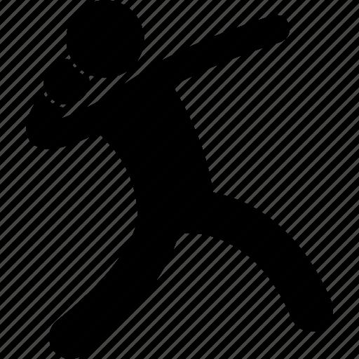 athlete, field, pose, posture, shotput, throw, track icon