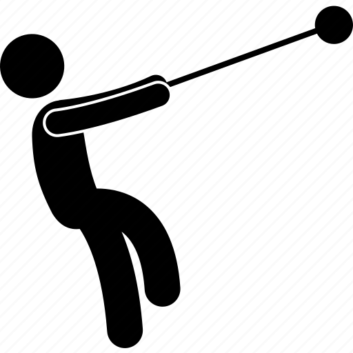 action, field, hammer, hammer throw, posture, throw, track icon