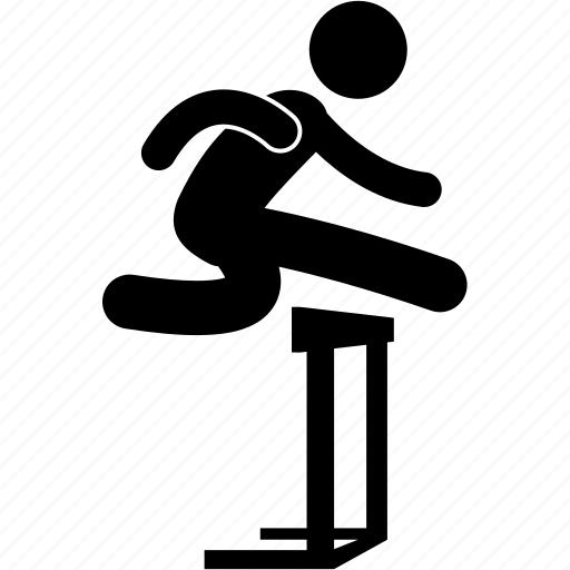 action, athlete, dash, hurdle, jump, runner, running icon