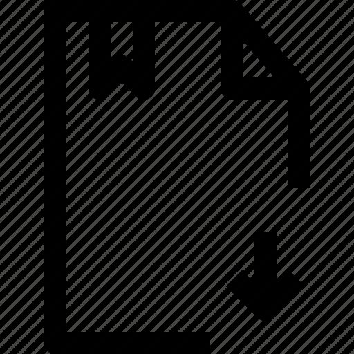 arrow, document, down, file, folder icon