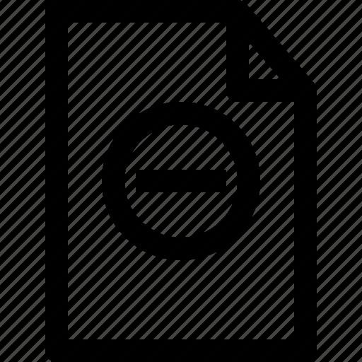 document, file, folder, minus icon