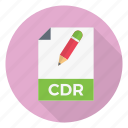edit, document, cdr, format, file icon