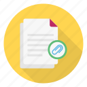 attach, document, files, link, sheet