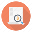 audit, document, dollar, magnifier, search icon