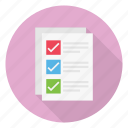 checklist, files, document, pages, tick icon