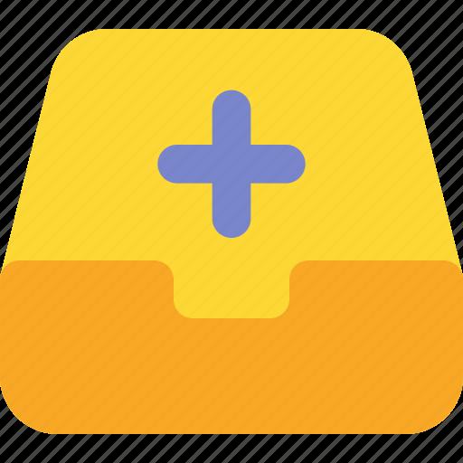 add, document, file, folder, inbox, office, plus icon