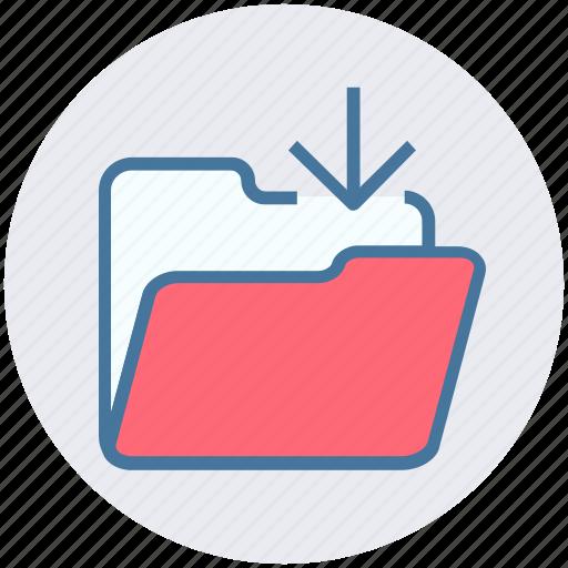 arrow, download, folder, in, inside, interface icon