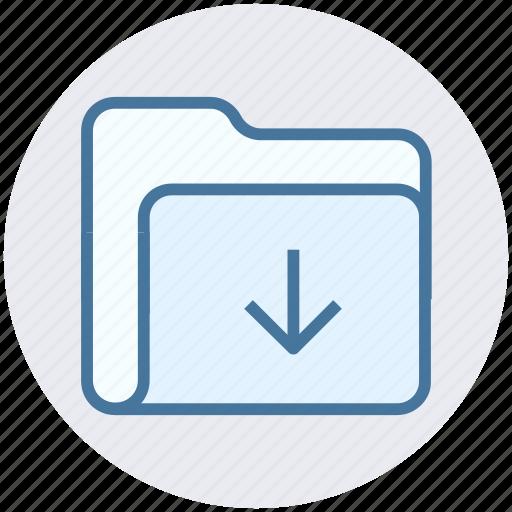 arrow, download, folder, inside, interface, open icon