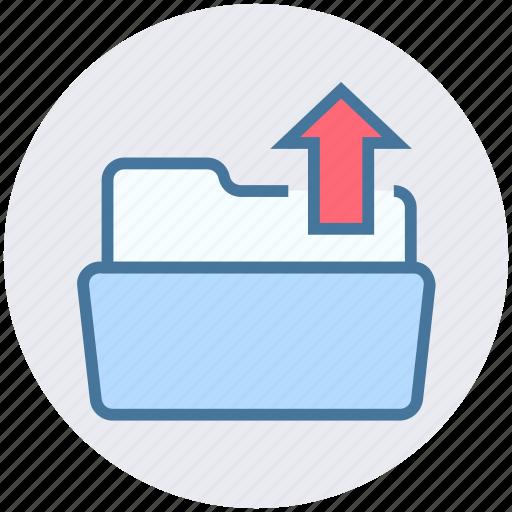 arrow, folder, open, out, outside, upload icon