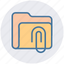 archive, attachment, clip, document, folder, paperclip icon