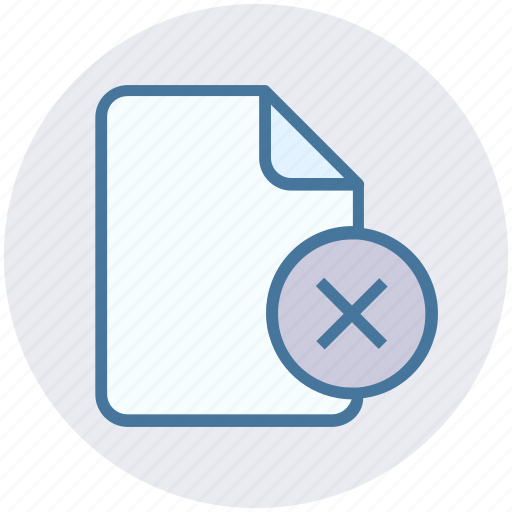 cross, cross file, document, file, reject icon