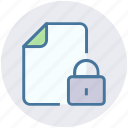 document, file, format, lock file, locked icon