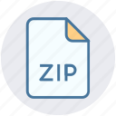achieve, file, format, zip, zipped, zipped file icon