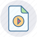 audio, document, file, media, movie, play icon