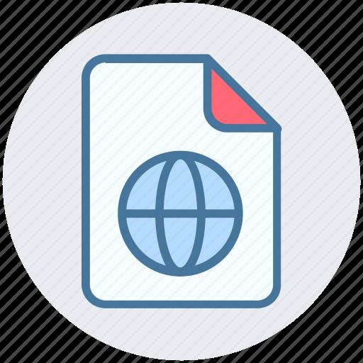 document, file, form, globe, interface, world icon