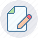 document, edit, file, menu, pencil, writing icon