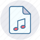 audio, document, file, media, music, play icon