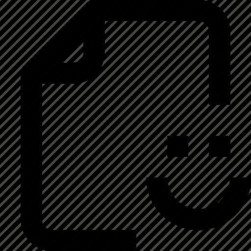 document, file, folder, interface, paper, smile, ui icon
