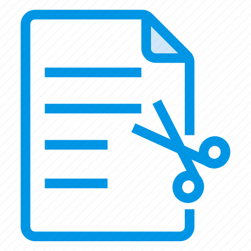 cut, document, documentation, documentfile, documentrecord, file, recordfiles icon