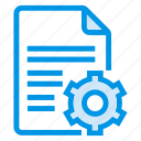 document, documentation, documentfile, documentrecord, file, gear, recordfiles icon