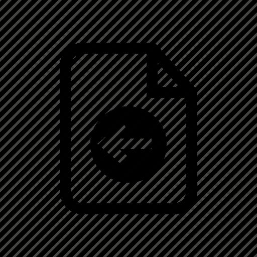 back, file, file back, previous file, restore file, undo file icon