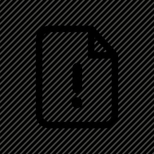 alert file, error, error file, exclamation, file, file alert, file error icon