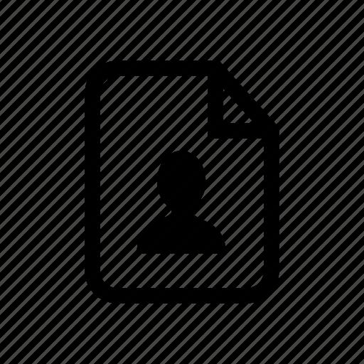 file, file profile, personal file, personal record, profile, user file icon