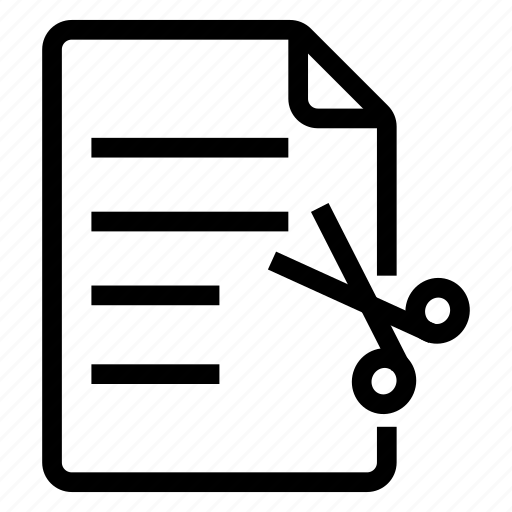 cut, document, documentation, documentfile, documentrecord, file, recordfiles icon