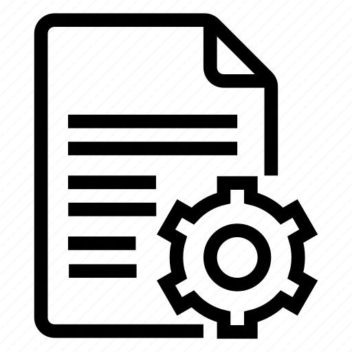 document, documentation, documentfile, documentrecord, file, gear, recordfiles icon