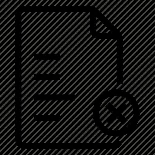document, documentation, documentfile, documentrecord, file, remove, text icon