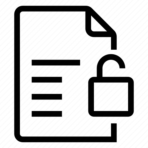 document, documentation, documentfile, documentrecord, file, text, unlock icon