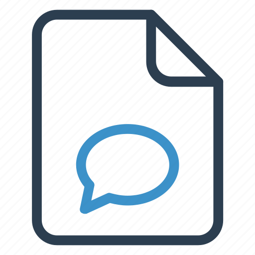 bubblechat, document, documentation, file, paper, record, sheet icon