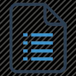 checklist, document, documentation, file, paper, record, sheet icon