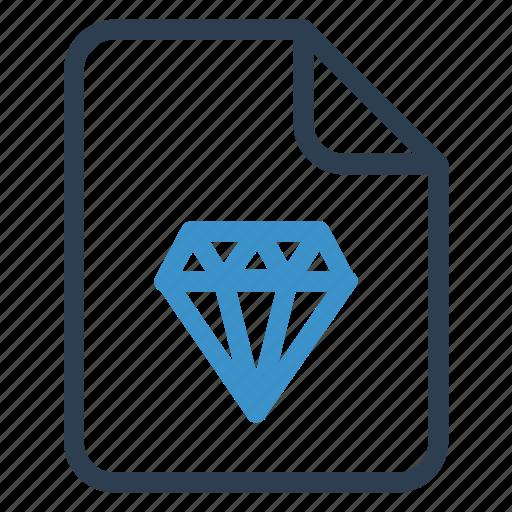 diamond, document, documentation, file, paper, record, sheet icon