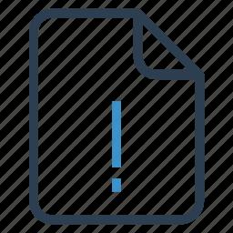 document, documentation, error, file, paper, record, sheet icon