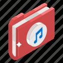archive, binder, document, file, folder, media folder, music folder icon