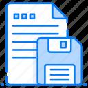 data storage, disc file, floppy storage, saved documents, saved file